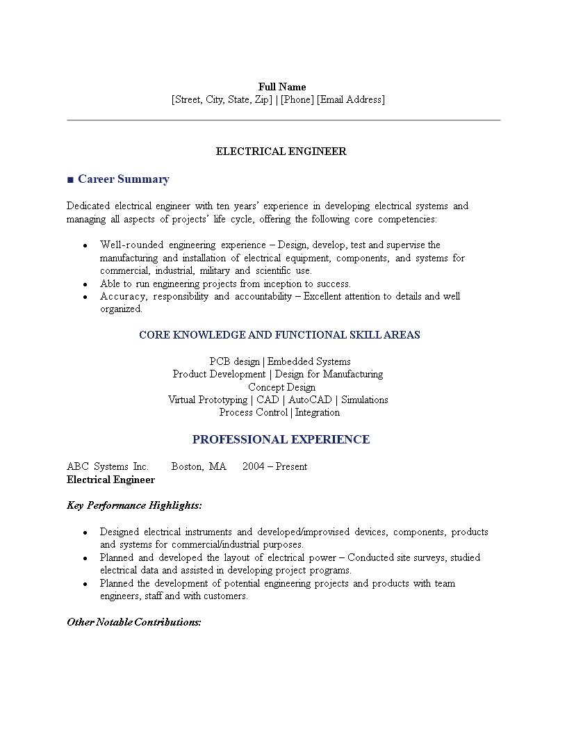 Free Electrical Engineering Resume Sample Templates At