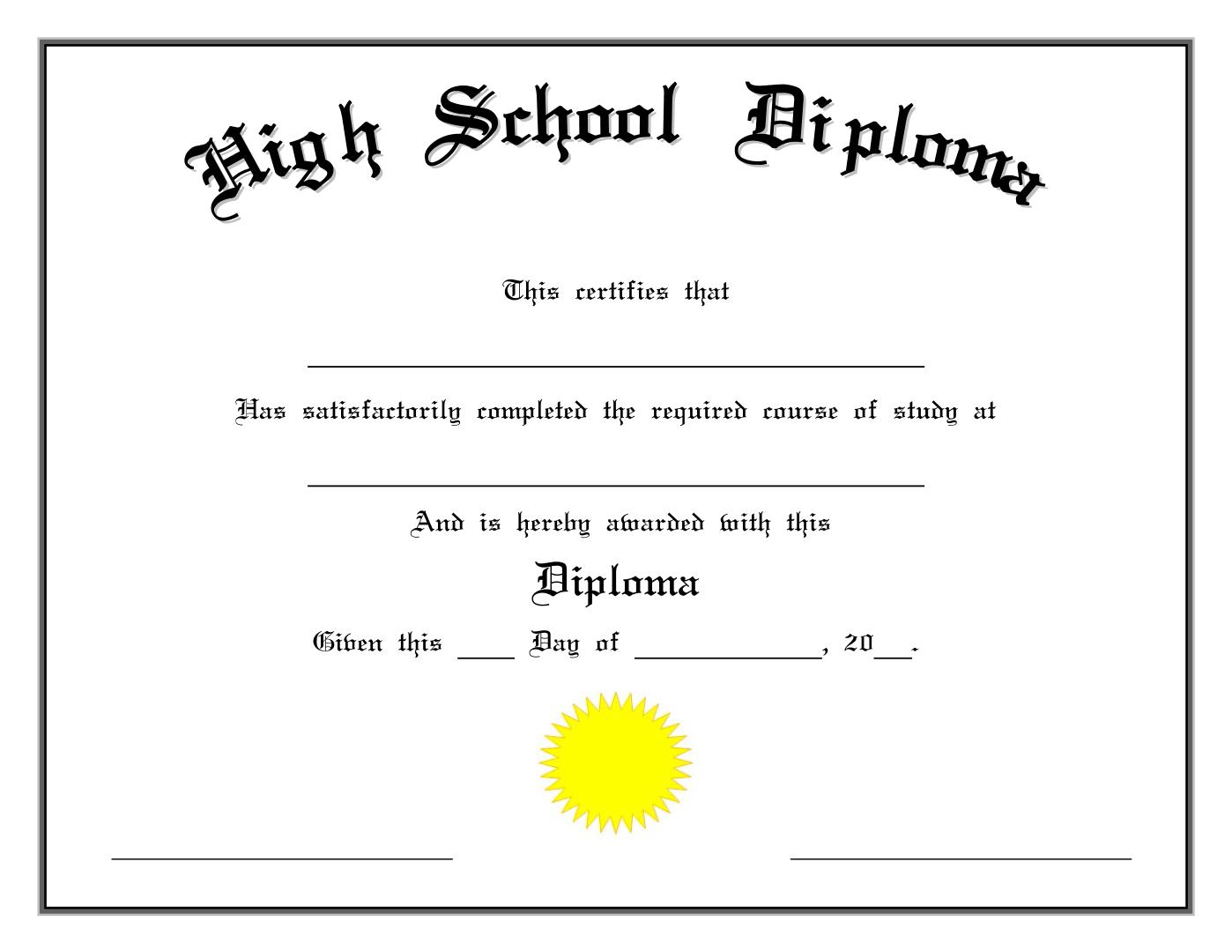 High School Diploma - Modèle Professionnel Regarding Graduation Certificate Template Word
