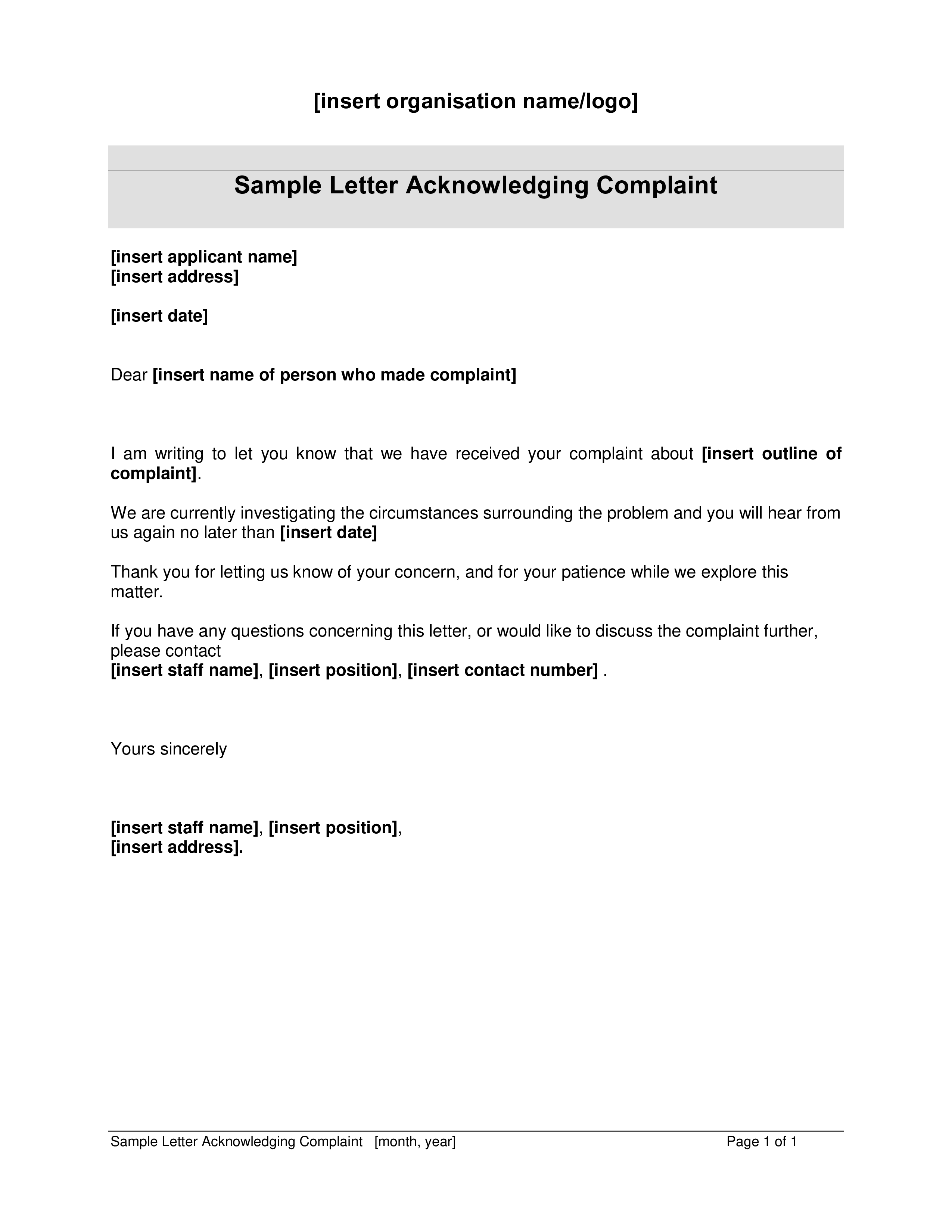 Free customer complaint acknowledgment letter templates at customer complaint acknowledgment letter main image download template spiritdancerdesigns Image collections