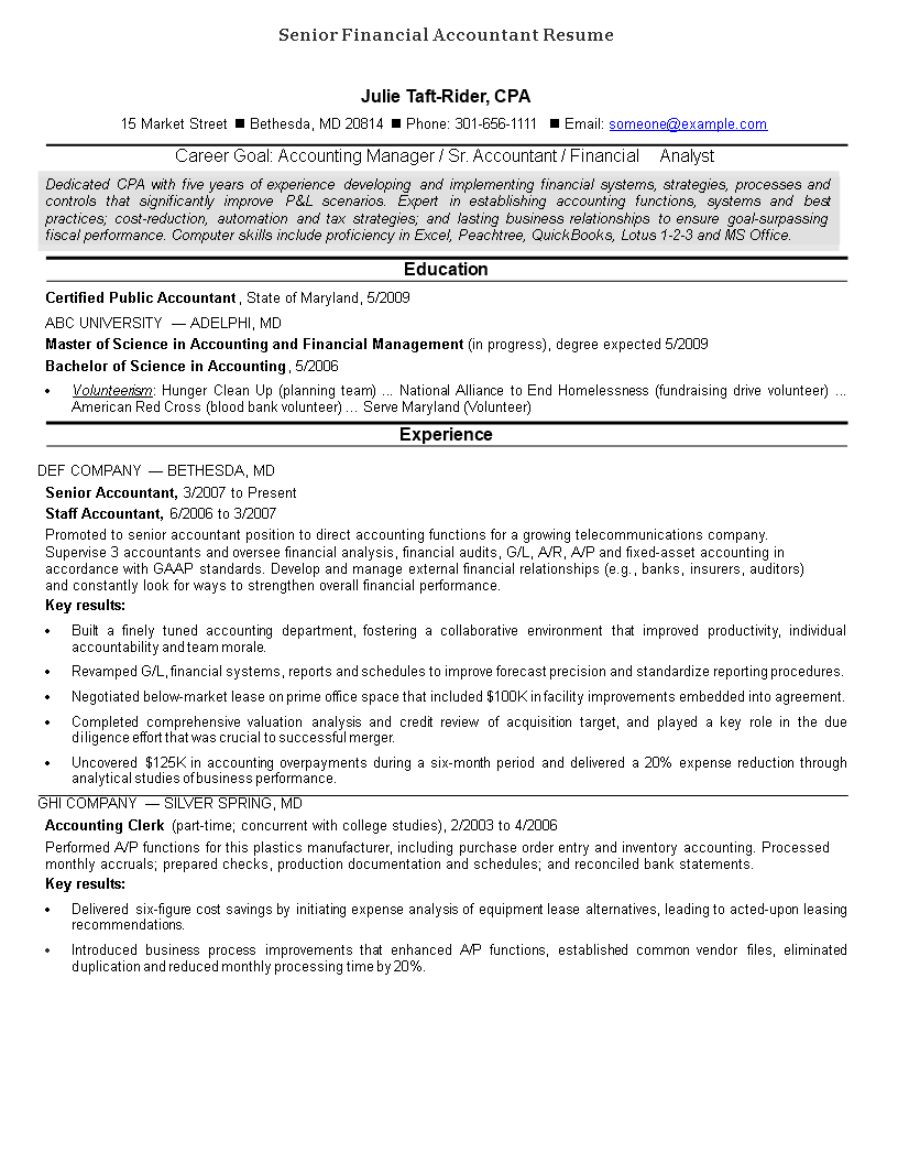 Senior Financial Accountant Resume Main Image
