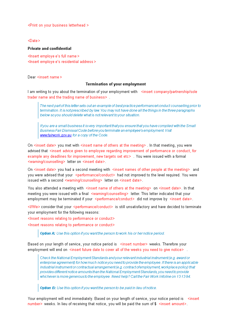 Job Termination Letter Employee main image