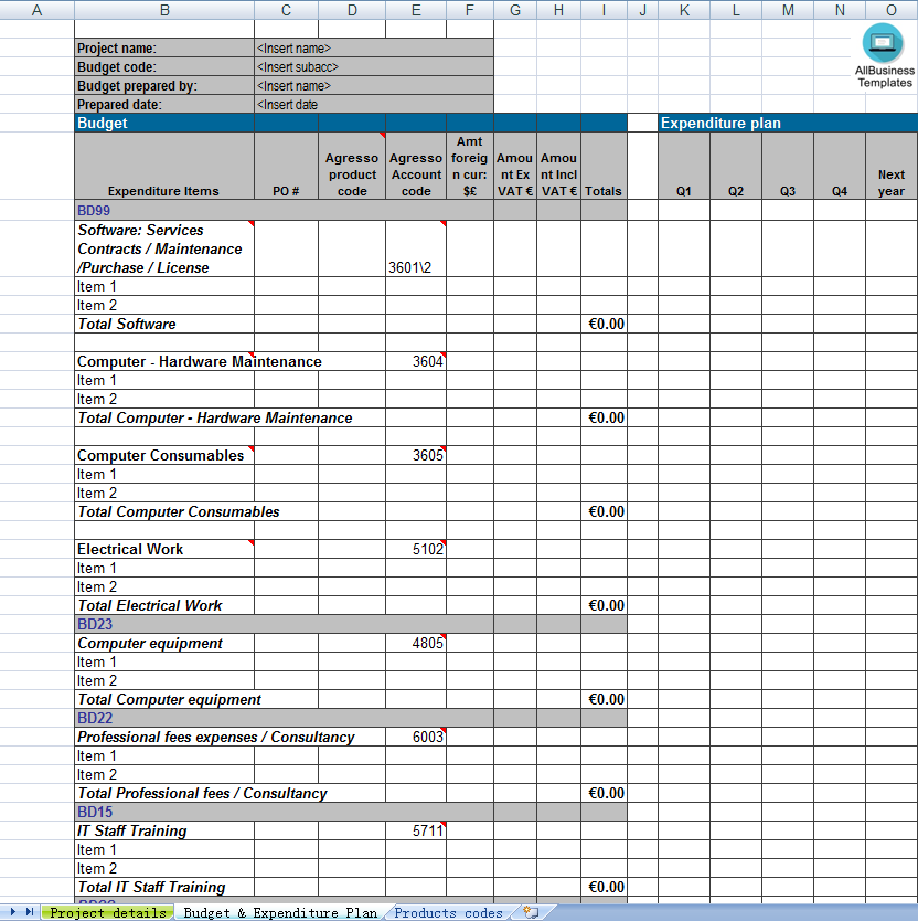 PMO Budget Expenditure Template main image