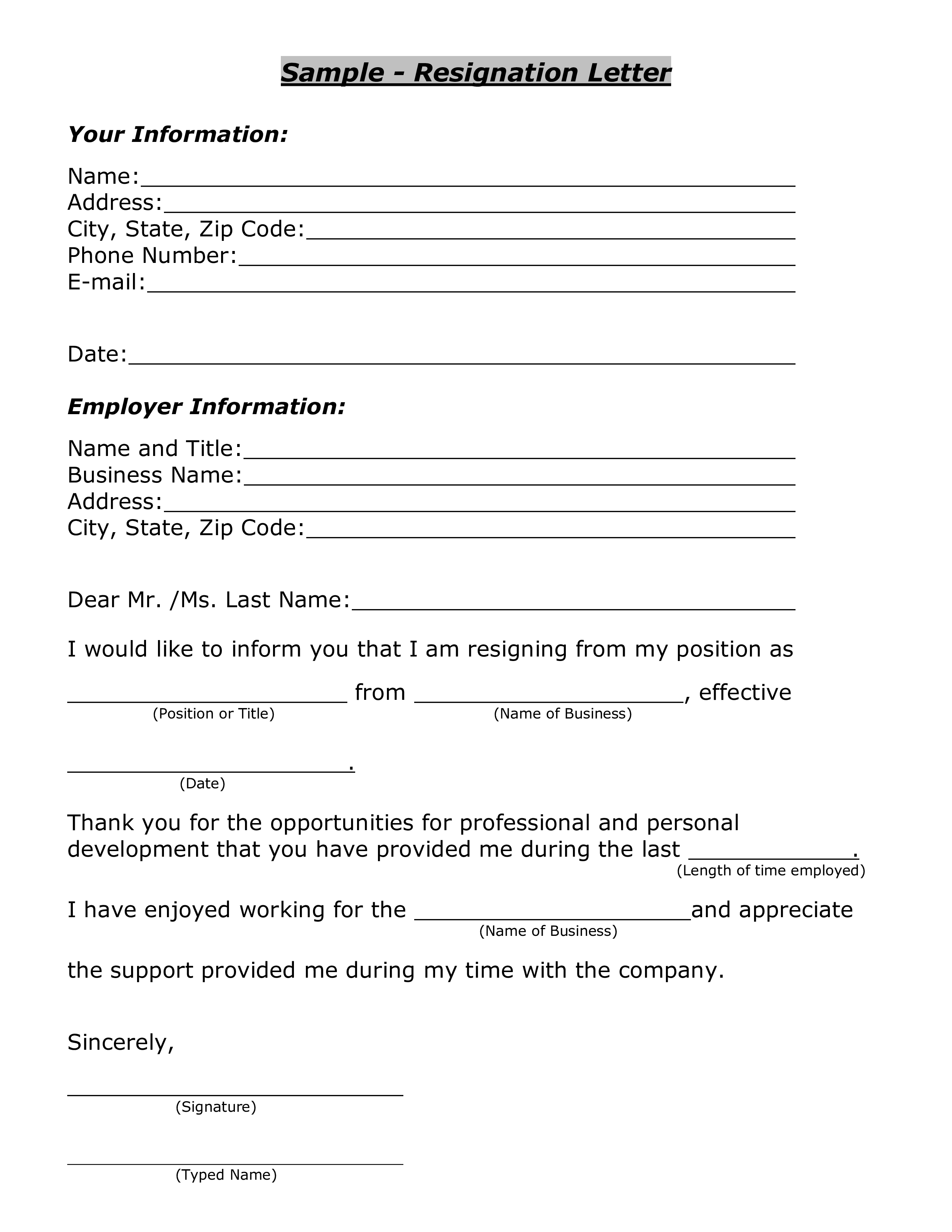 Free Sample Resignation Letter PDF Format | Templates at ...
