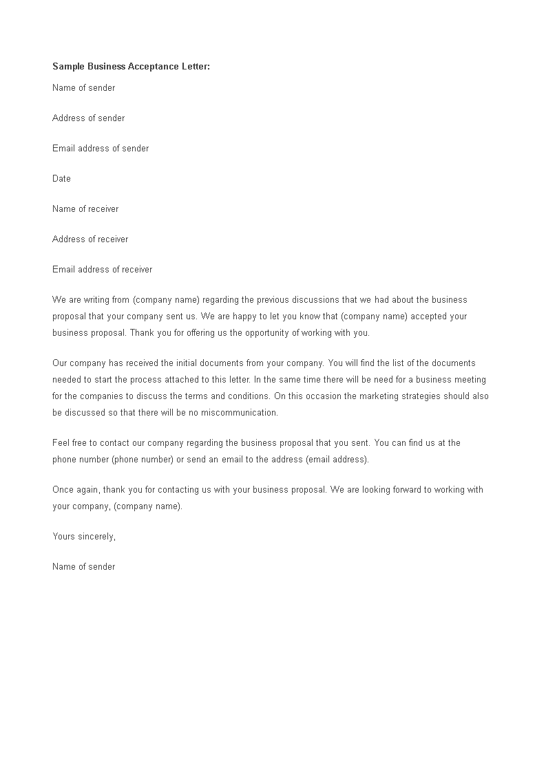 Free Business Proposal Acceptance Letter Format Templates At