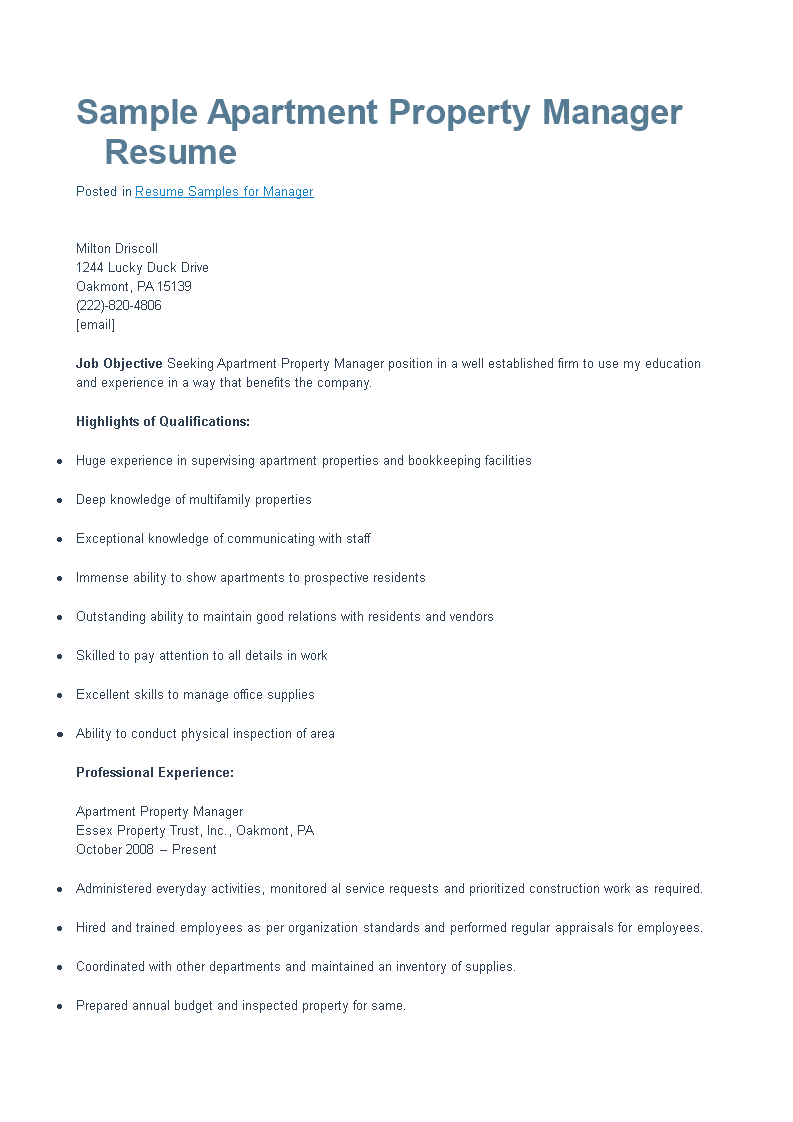 apartment property manager resume main image - Apartment Manager Resume