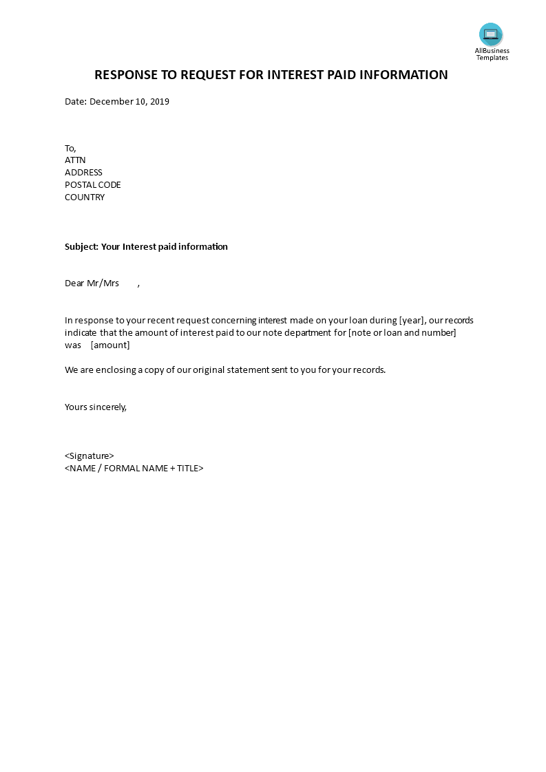 Response Letter to Interest Paid main image