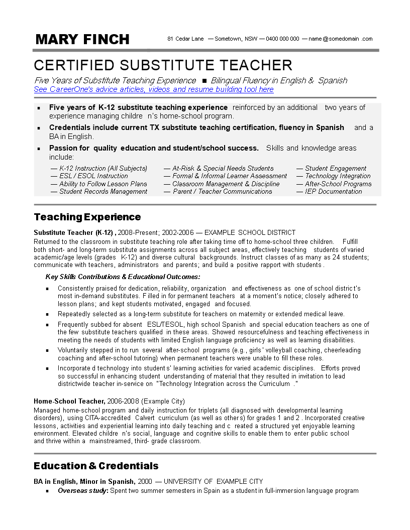 free substitute teacher resume skills