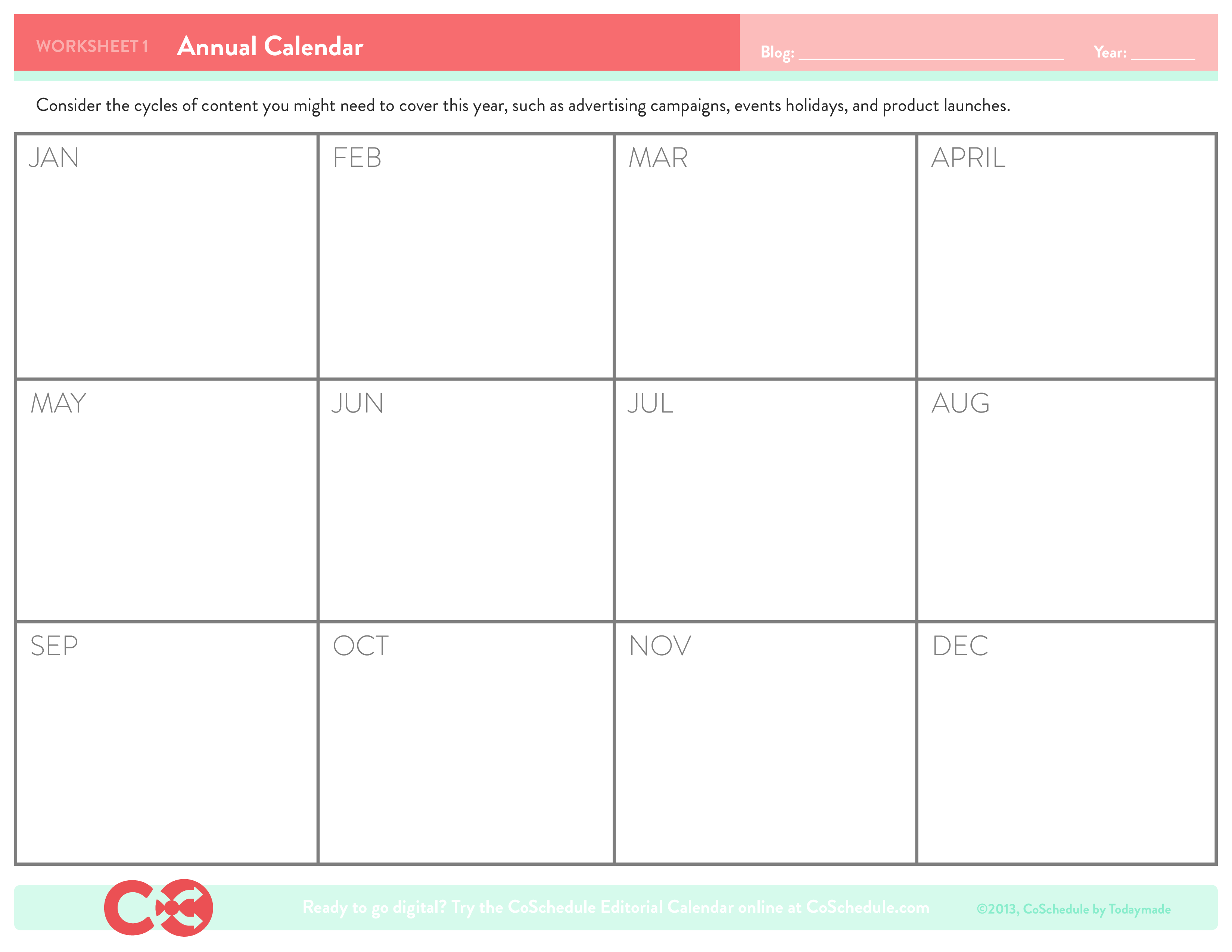 Blank Annual Calendar Sample | Templates at ...
