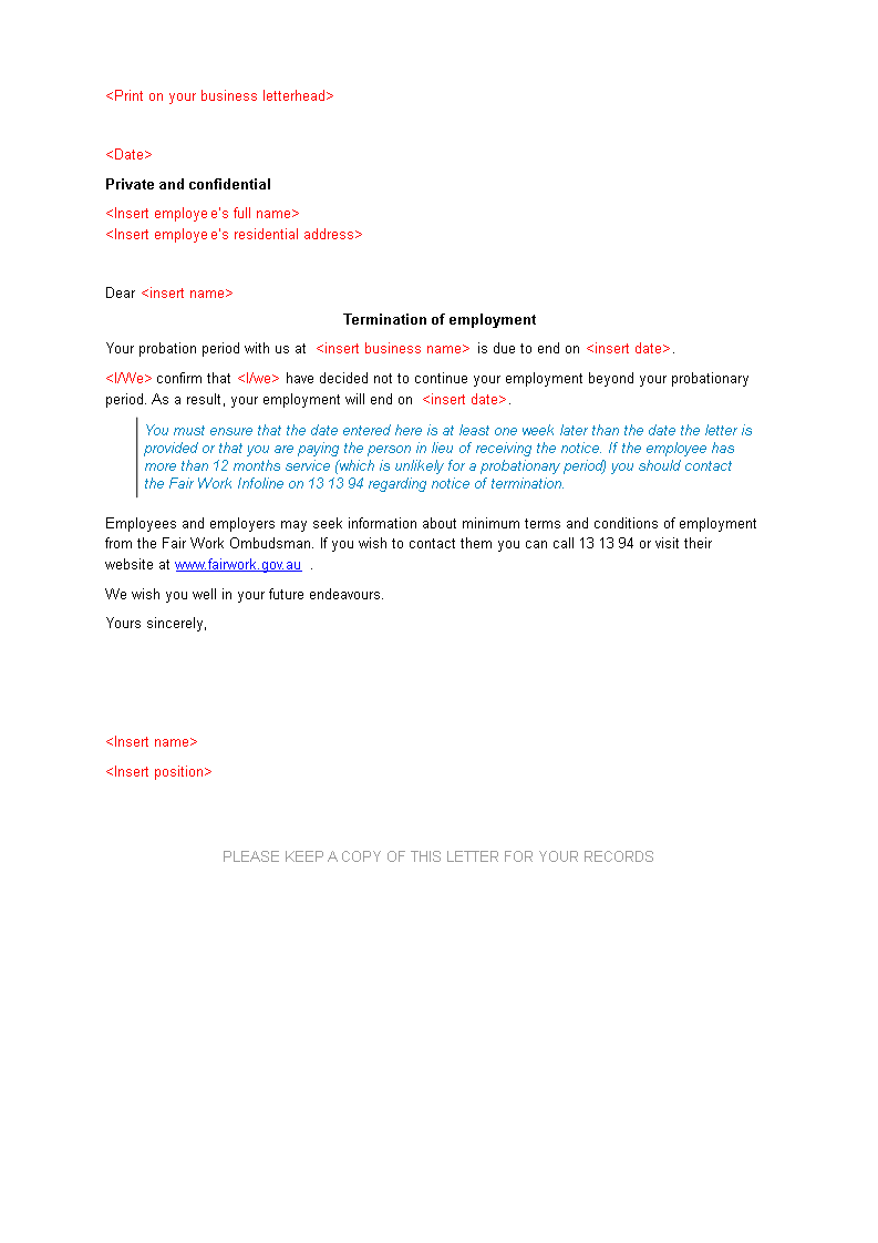 Employee Probation Termination Letter | Templates at ... on confidential letter of interest, confidential cover letter, confidential fax cover sheet template,