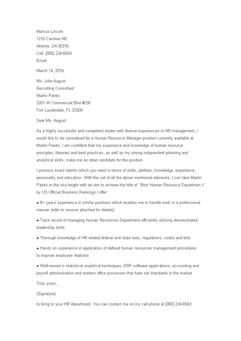 Hr Manager Cover Letter Templates At Allbusinesstemplates Com