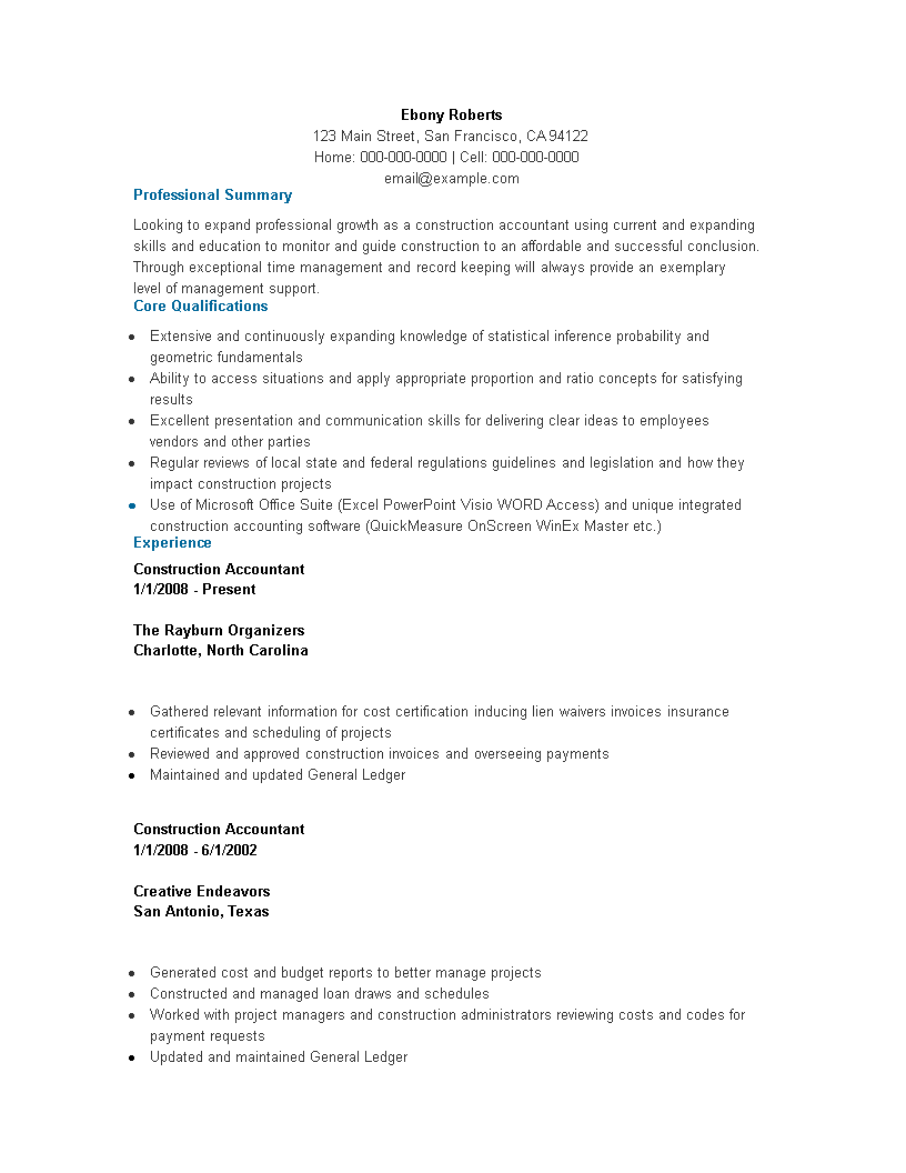 Free Construction Accountant Resume Templates At