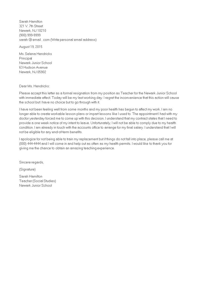 Free teacher immediate resignation letter templates at teacher immediate resignation letter main image altavistaventures Images