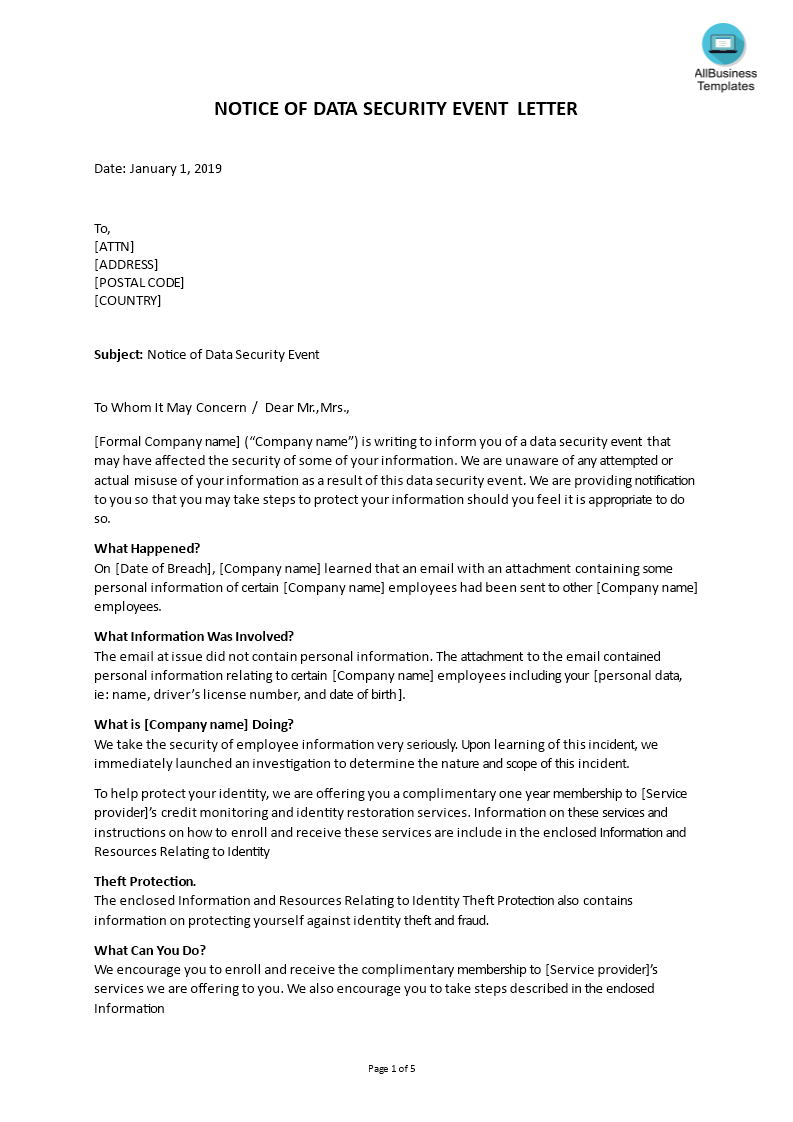 Notice of Data Security Event Letter Template main image