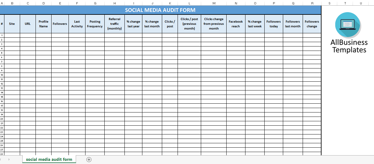 Social Media Spreadsheet Audit main image Download template