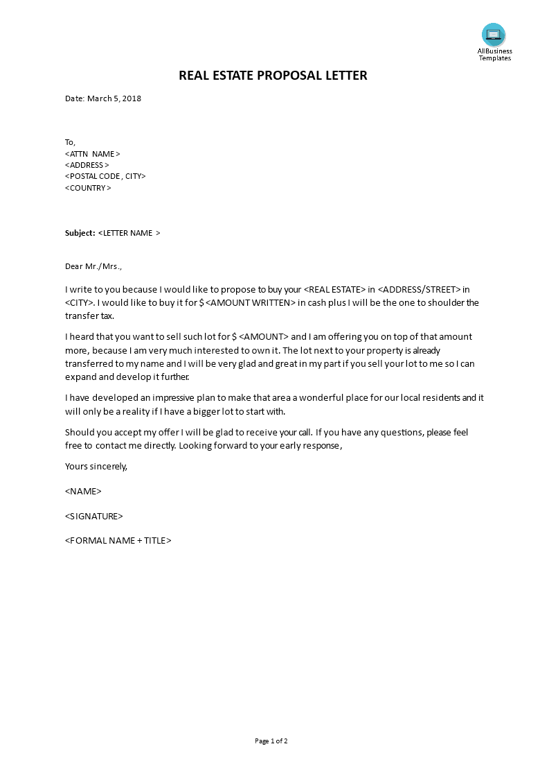 real estate proposal letter templates at
