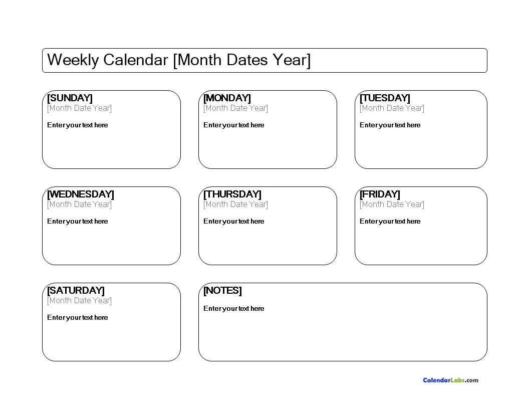Free Blank Weekly Calendar Templates At Allbusinesstemplates Com