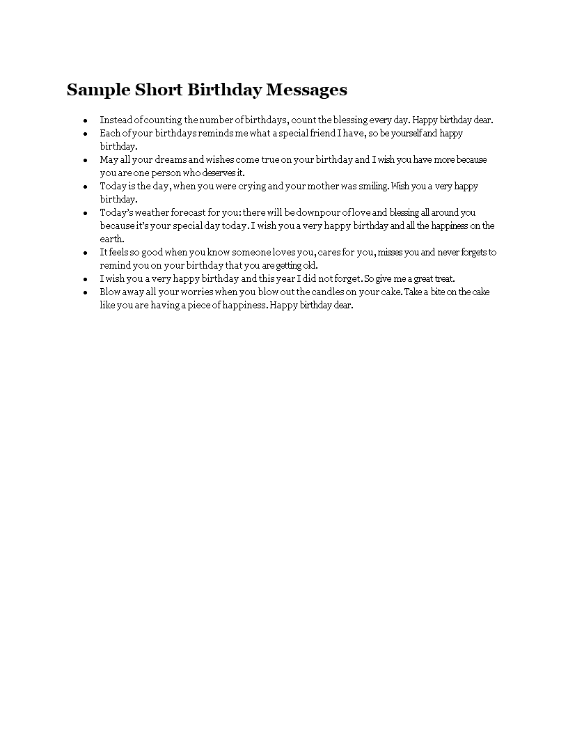 Sample Short Birthday Messages main image