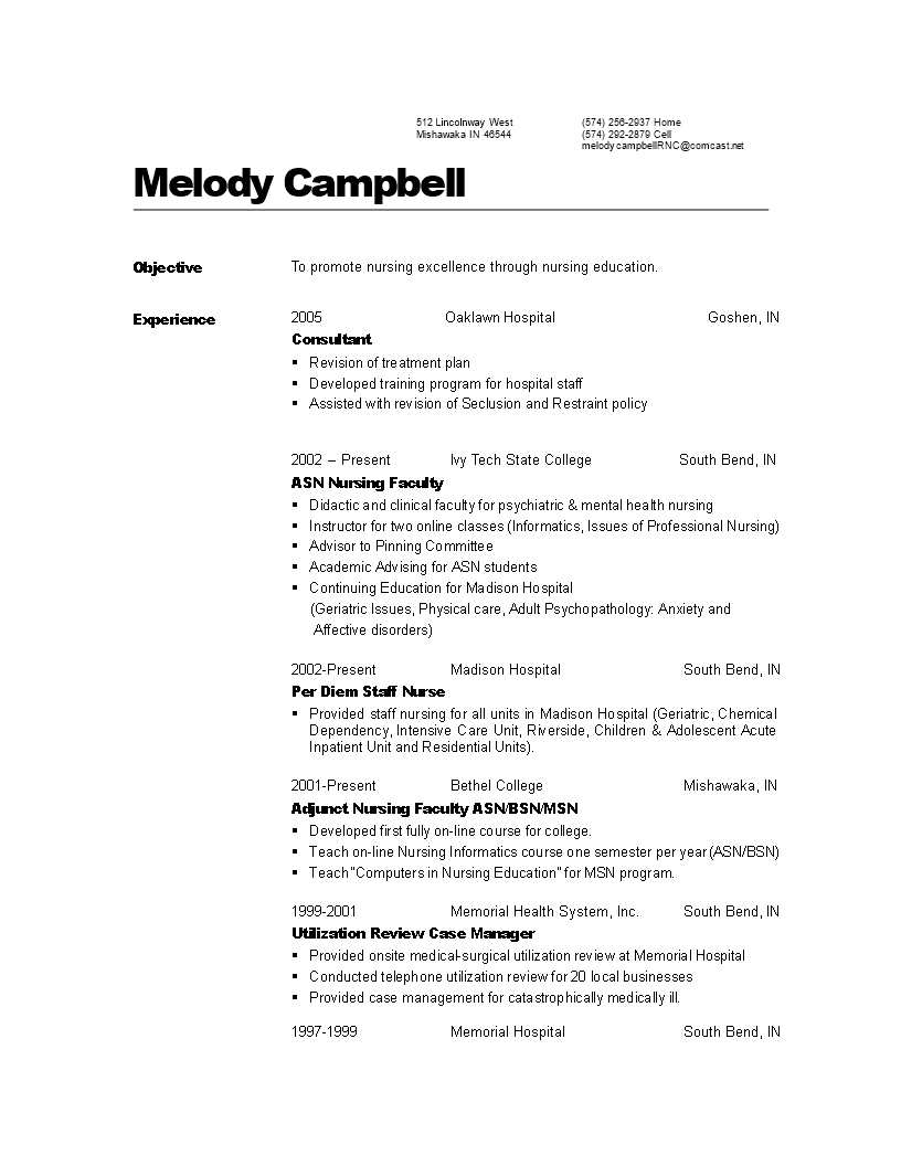Free Professional Nursing Resume | Templates at ...
