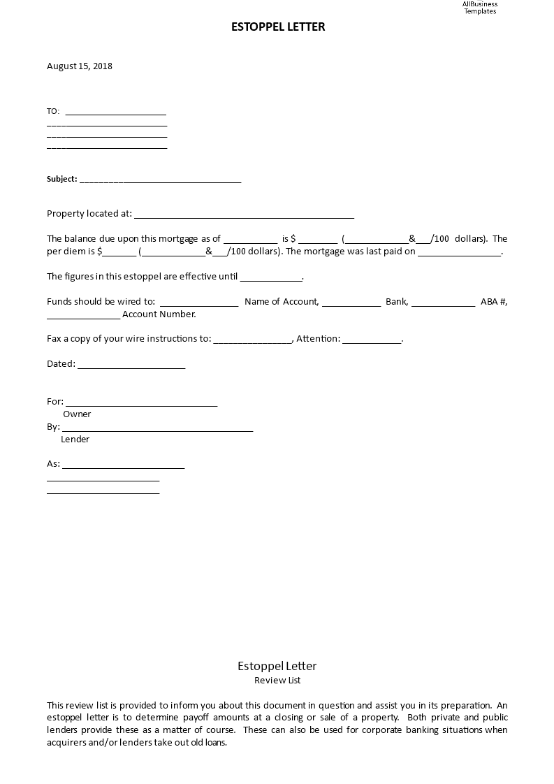 Free Printable Estoppel Letter Form Generic Estoppel