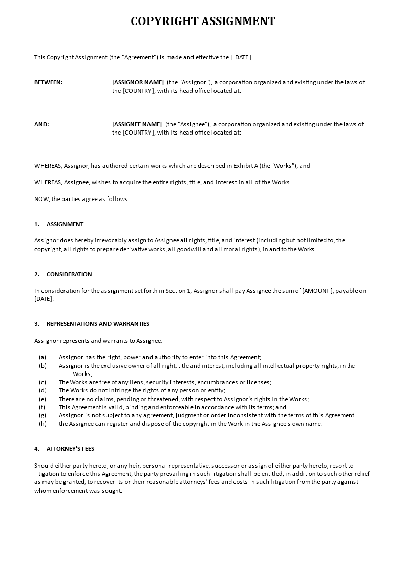 Free Copyright Assignment template | Templates at ...