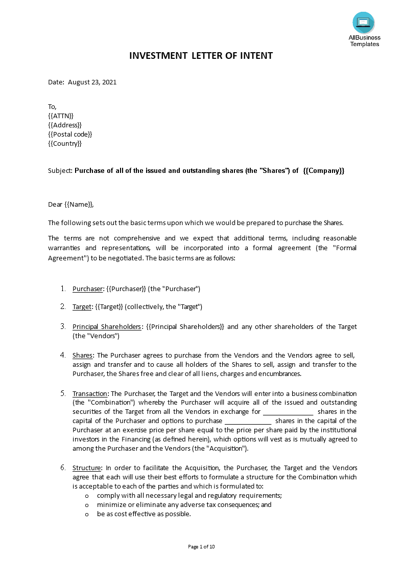 Free investment letter of intent templates at allbusinesstemplates investment letter of intent main image download template spiritdancerdesigns Images