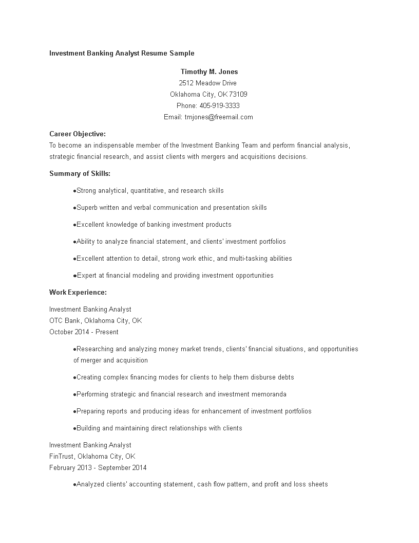 free investment banking analyst resume templates at