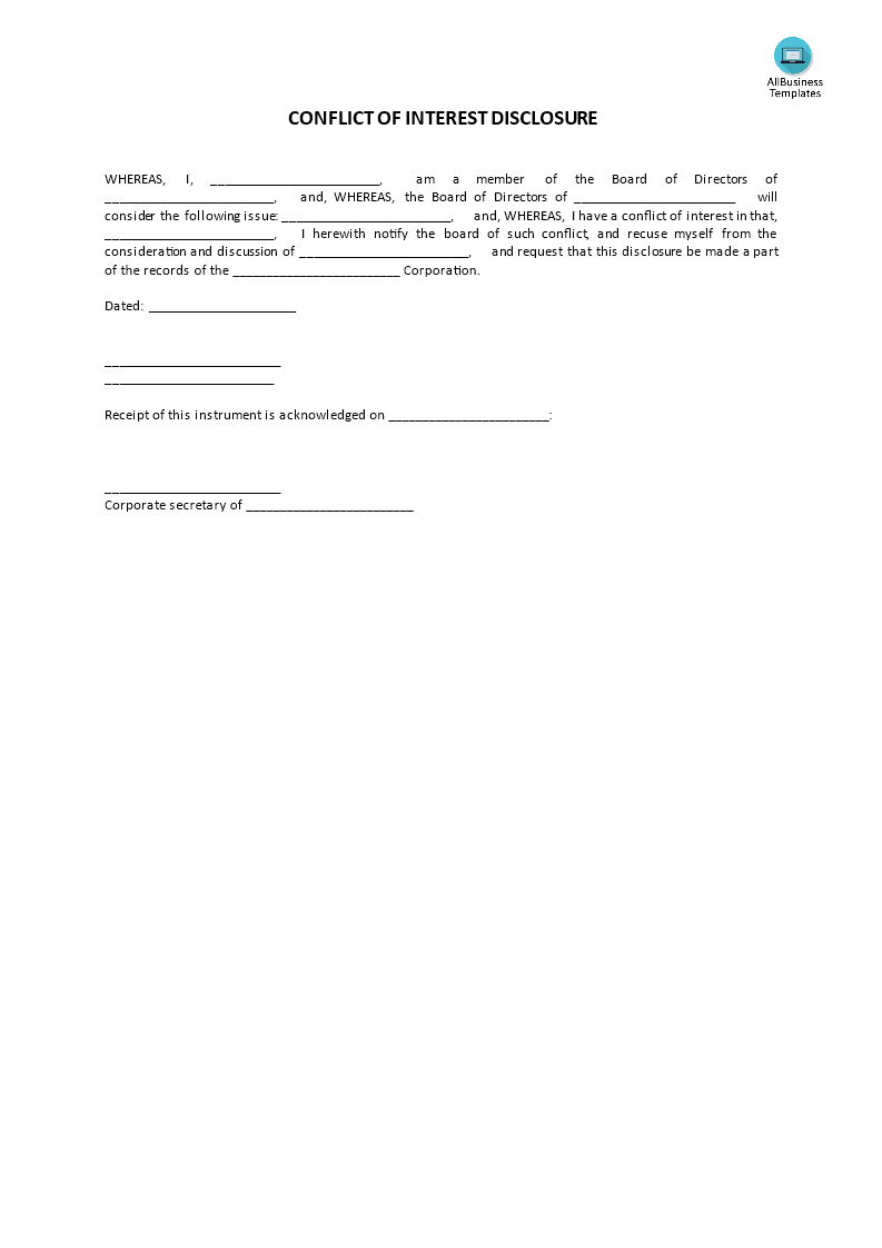 Conflict Of Interest Disclosure Template