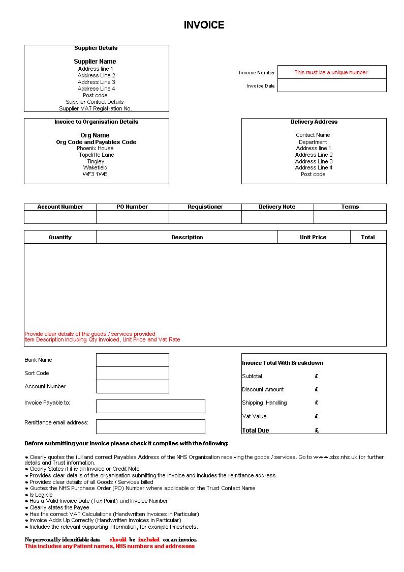 Gratis Factuur Voor Afleveringsbestelling Excel Formulier