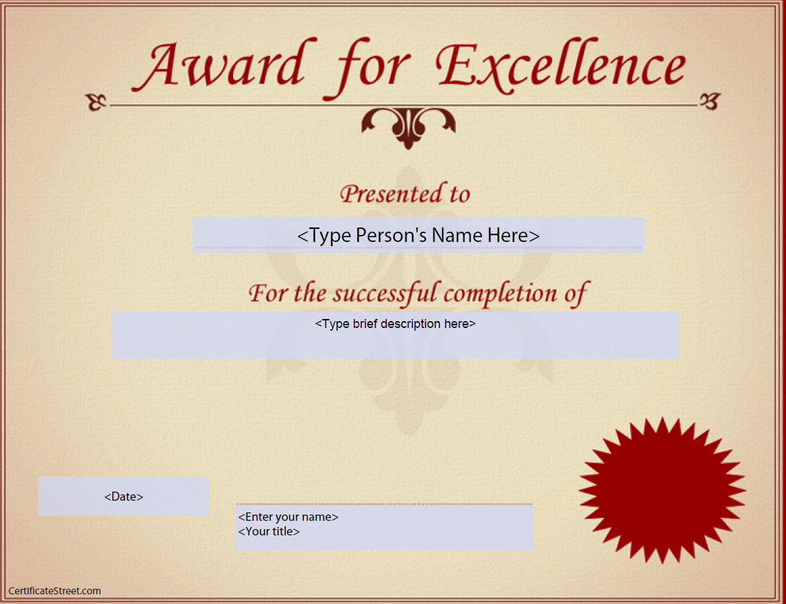 Kostenloses Award for Excellence Certificate With Regard To Award Of Excellence Certificate Template