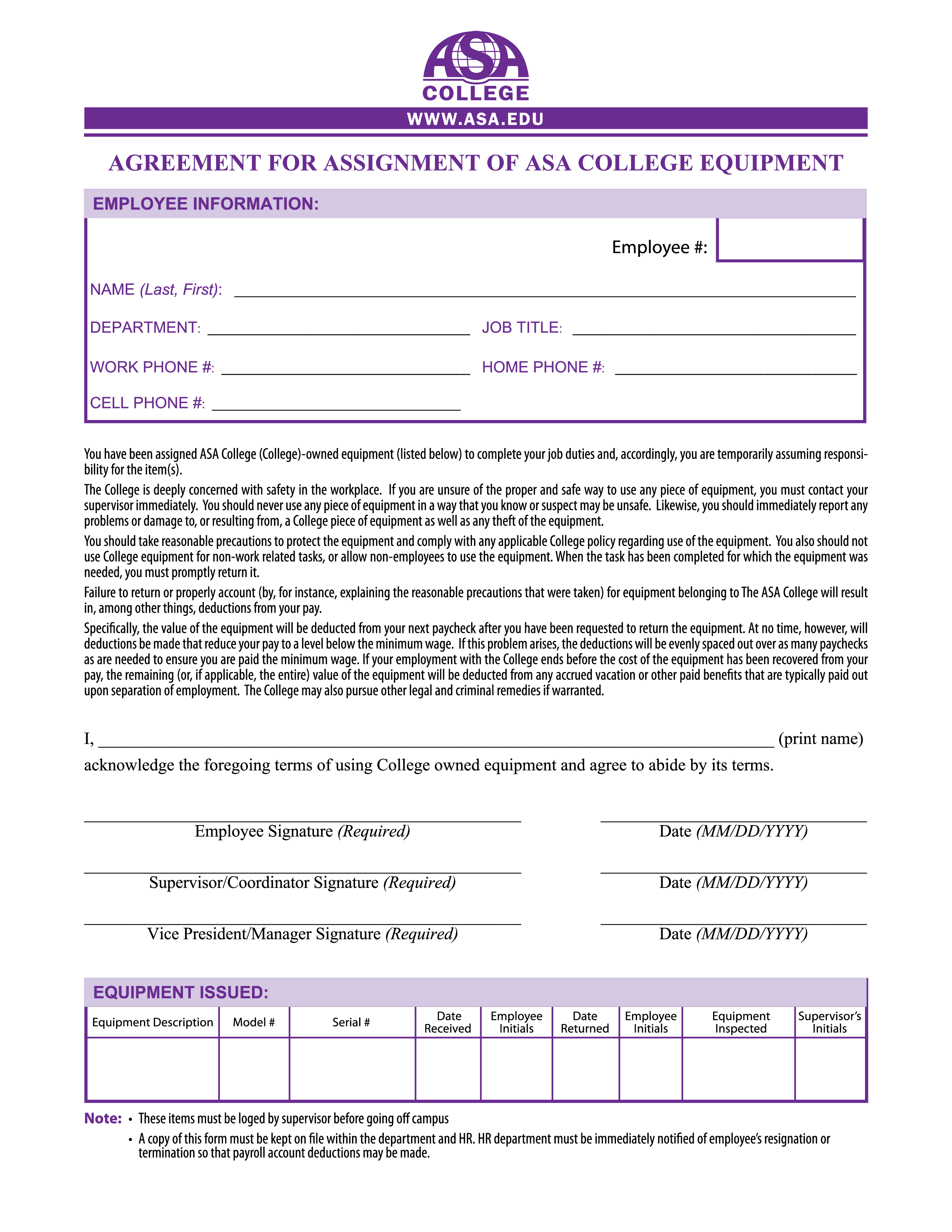 Free Equipment Assignment Agreement | Templates at ...