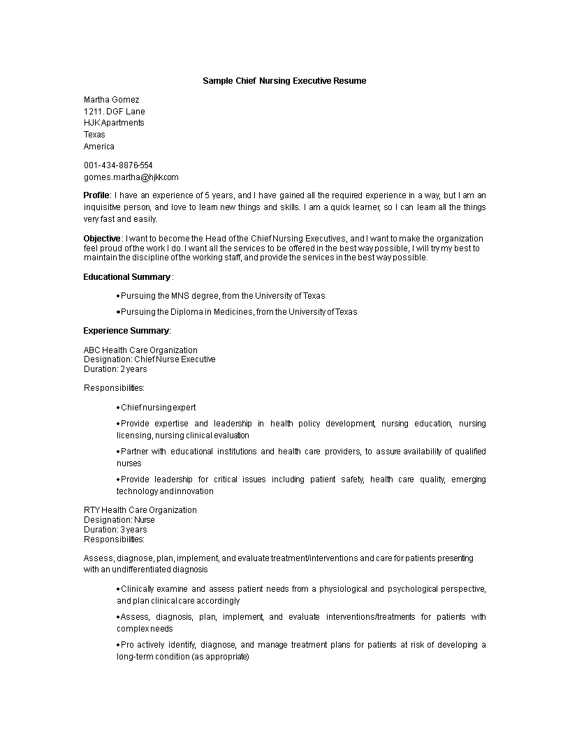 Chief Nurse Executive Resume Templates At Allbusinesstemplates
