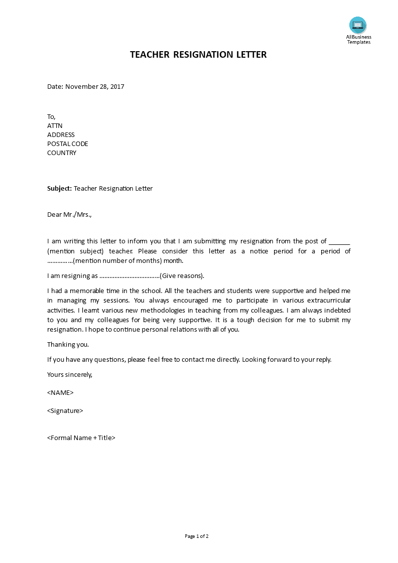 Free Teacher Resignation Letter With Notice Period Templates At