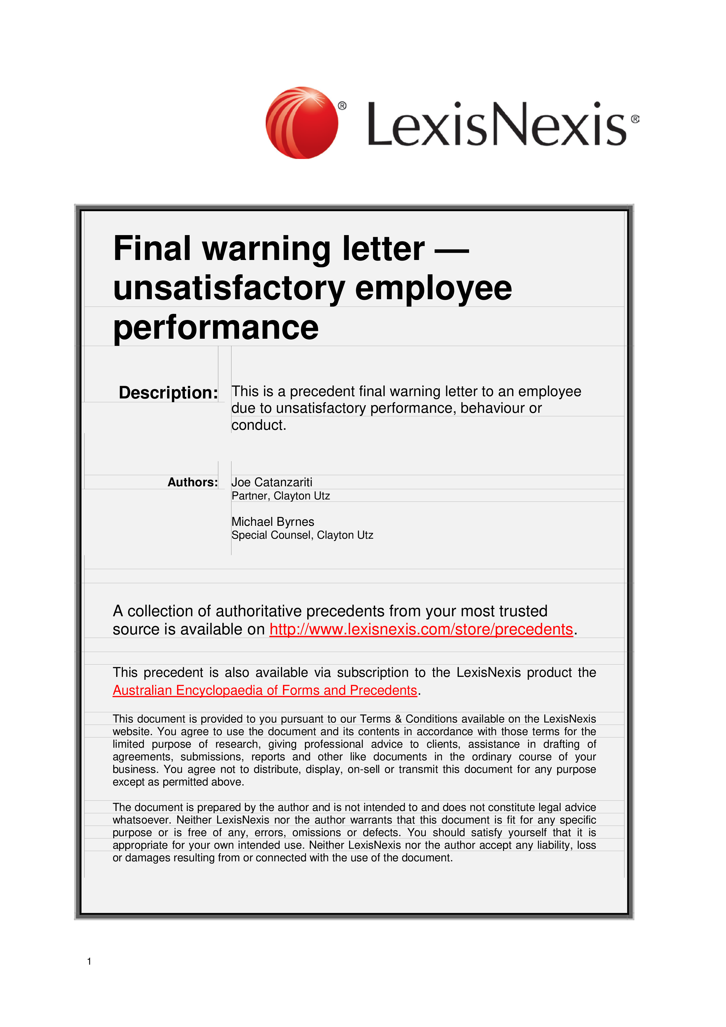 final warning letter to employee poor performance