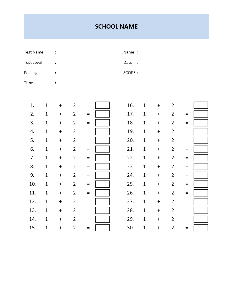 Free Math Quiz Template first grade | Templates at ...