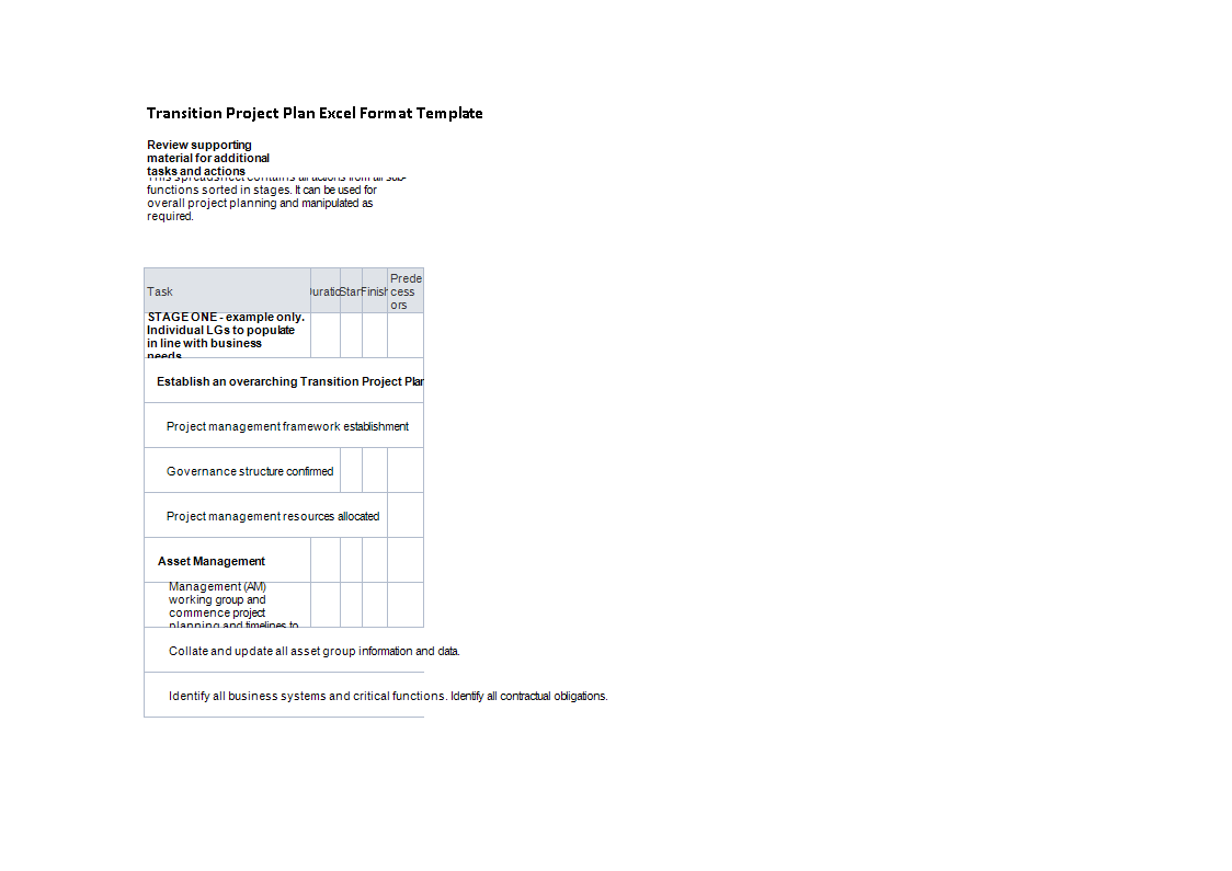 Transition Project Plan Format Excel main image