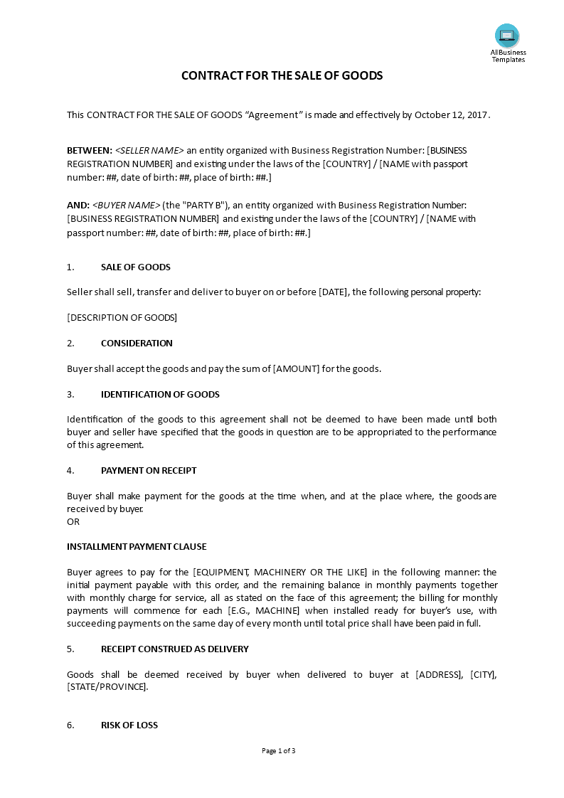 Sales contract for the sale of goods templates at for Sale of goods agreement template