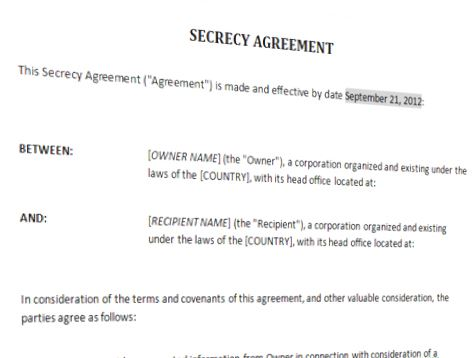 Free secrecy agreement templates at for Secrecy agreement template