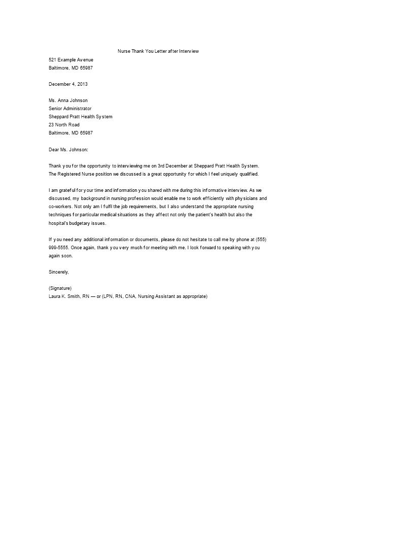 Gratis sample thank you letter after nursing job interview template img main expocarfo