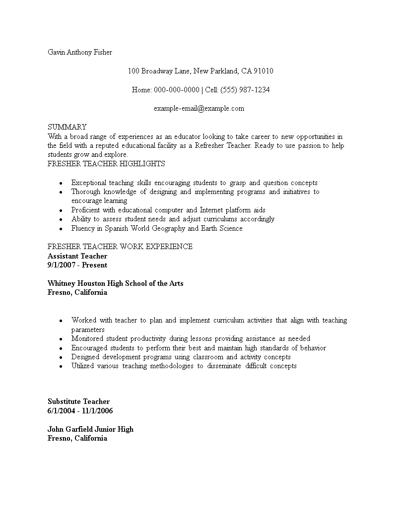 Free Resume For Teaching Job Fresher Template Templates At