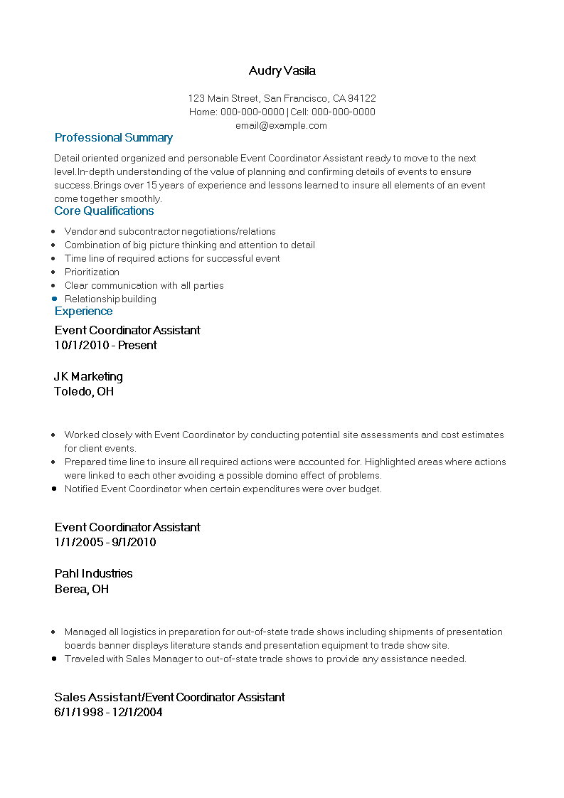Free Event Coordinator Assistant Resume Templates At