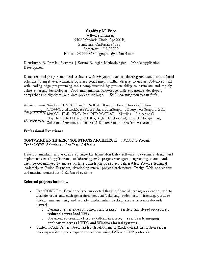 Free Sample Software Engineering Resume Templates At