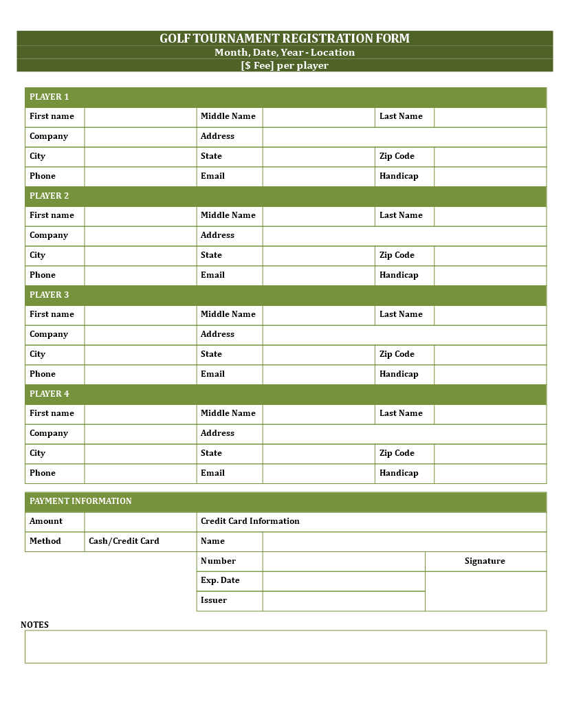 Golf Registration Form Template Main Image  Customer Registration Form Sample