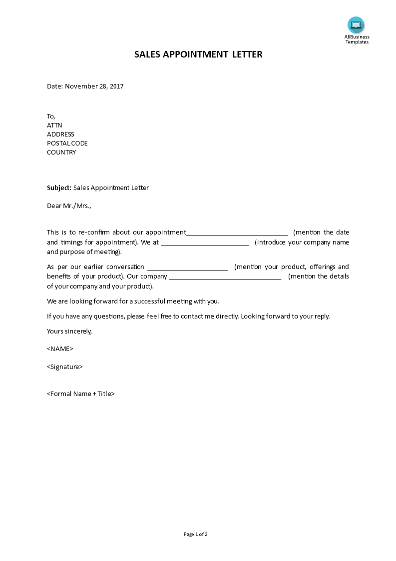 Free Sales Appointment Letter Templates At Allbusinesstemplates Com