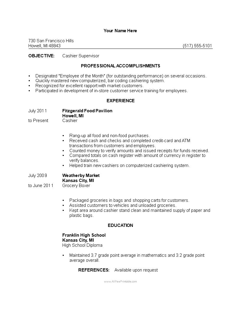 Free Cashier Resume Template Templates At Allbusinesstemplates