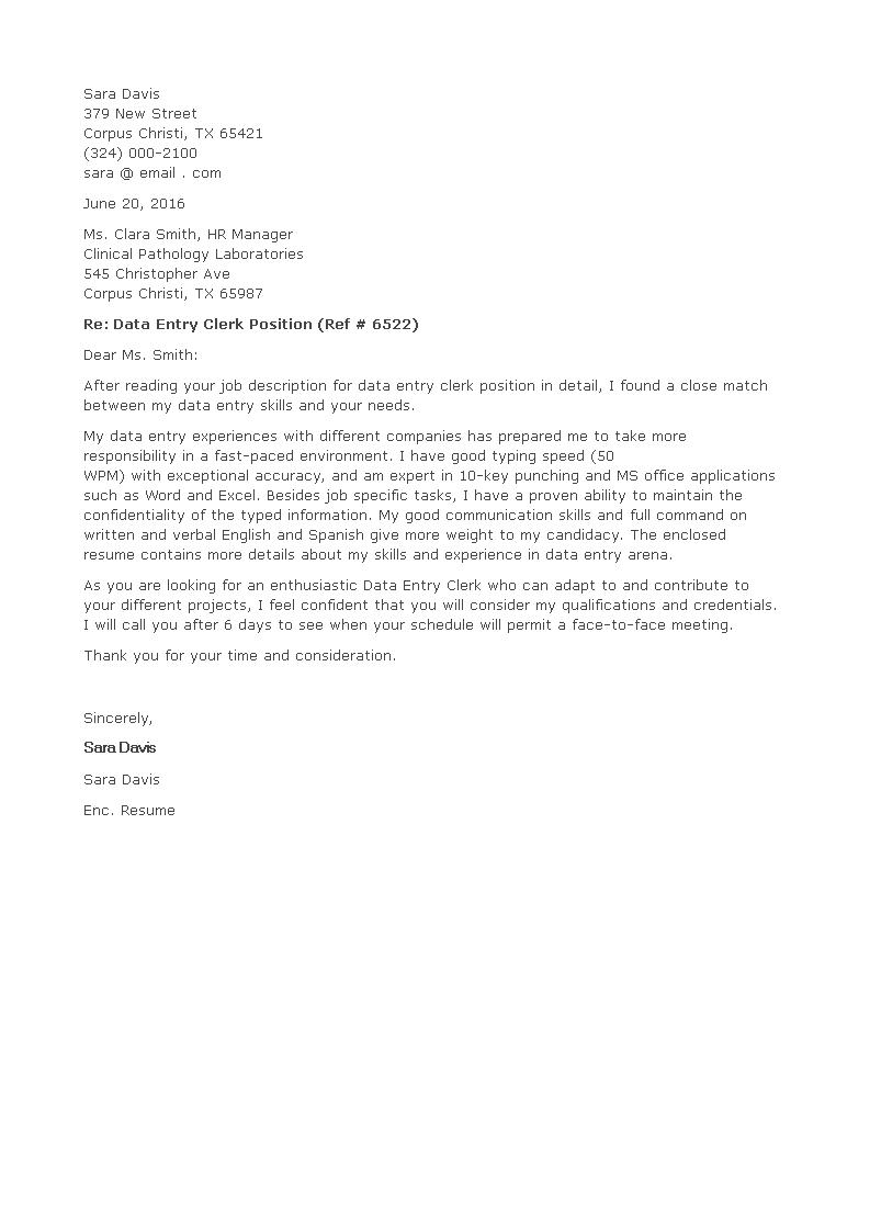 Free data entry clerk job position cover letter templates at data entry clerk job position cover letter main image download template altavistaventures Images
