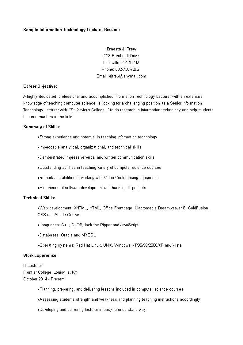 Free IT Lecturer Resume | Templates at allbusinesstemplates.com