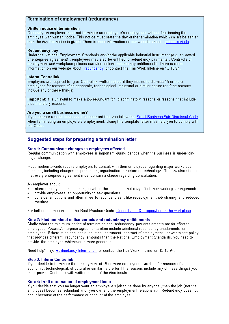 letter of termination of employment redundancy main image download template