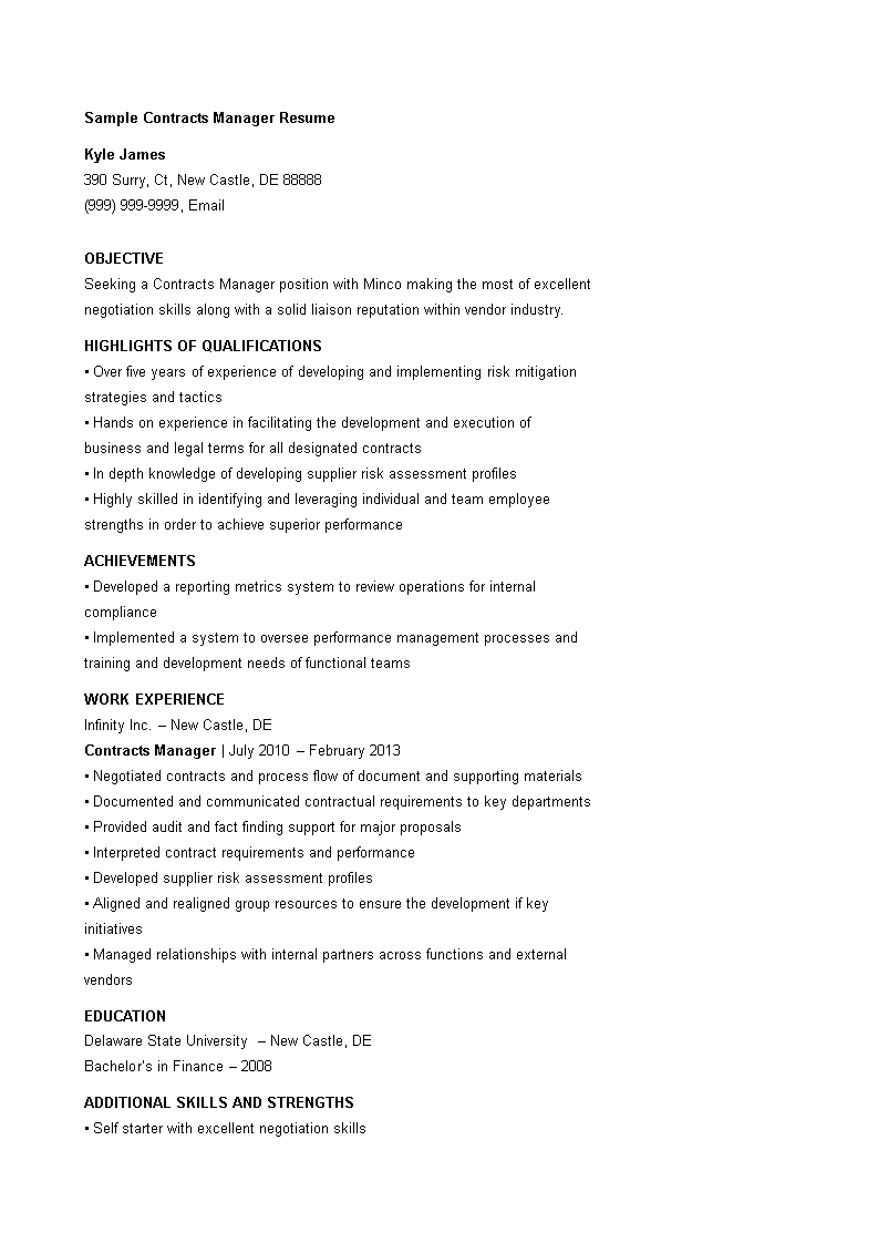 Sample Contract Manager Resume main image