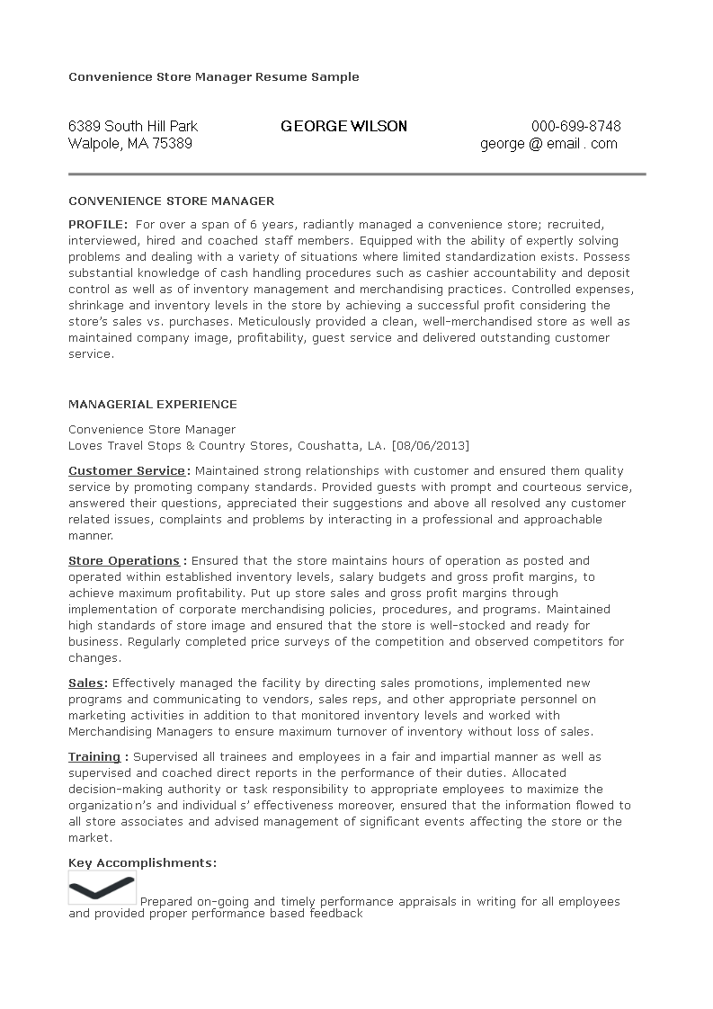 Free Convenience Store Manager Resume Templates At