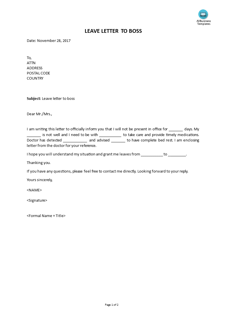 Free leave letter to boss templates at allbusinesstemplates leave letter to boss main image altavistaventures Gallery